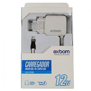 Carregador Exbom rapido para smartphone V8 2,1A 12W CA2U-C20V8B