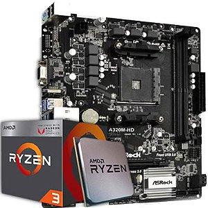 Kit Upgrade, AMD Ryzen 5 3600 3.6GHz AM4, ASROCK A320M-HD DDR4