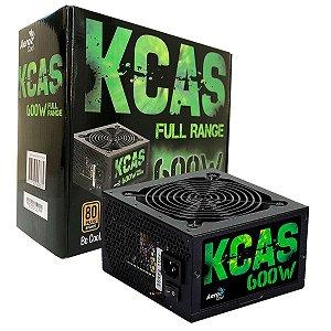 Fonte Gamer KCAS 600W 80 Plus Bronze PFC Ativo AEROCOOL