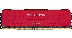 Memória Ballistix Gamer 8GB DDR4 3000Mhz Red