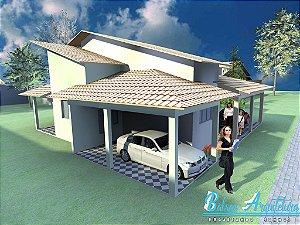 Planta com 2 Garagens e 3 Quartos sendo 1 Suite - com Área de 137m²