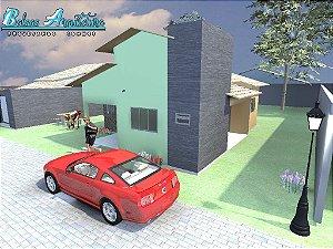 Planta Pronta p/ Aprovação na Prefeitura com 2 Quartos sendo 1 Suite - com Área de 75m²