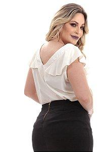 Blusa Plus Size de Viscose com Babado na Alça e Detalhe de Botão 6253