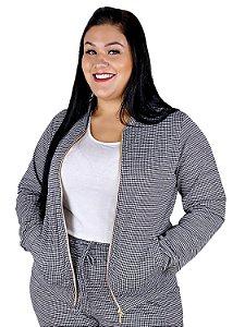 Casaco Plus Size com Ziper Jacard com Elastano 11060
