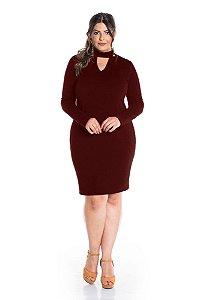 Vestido Plus Size Jacard com Elastano Choker 6168
