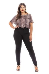 REGATA ALÇA CREPE ESTAMPADO PLUS SIZE - 6252