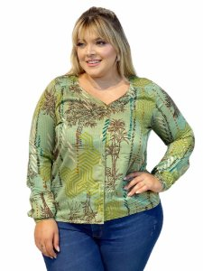 6441 - CAMISA ML DE VISCOSE ESTAMPADO