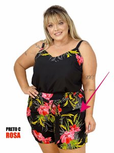 SHORTS VISCOSE ESTAMPADO PLUS SIZE - 6361