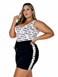 CONJUNTO BLUSA REGATA E SHORT SAIA COM RECORTE VISCO PLUS SIZE - 6639