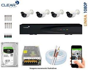 SEG34 - Kit Completo 4 câmeras 1080P