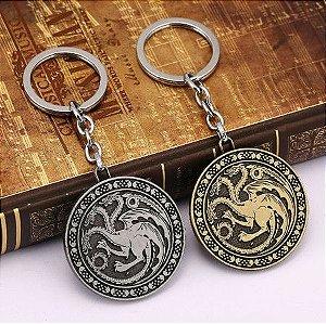 Chaveiro Game Of Thones Dourado - Casa Targaryen
