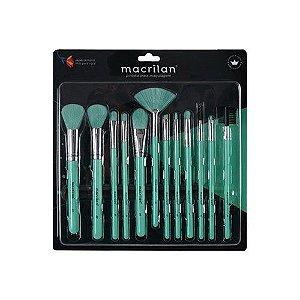 Kit com 12 Pincéis Neon Macrilan Verde EN001