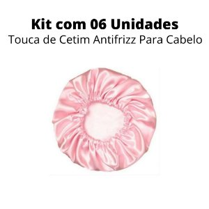 Kit 06 Unidades Touca de Cetim Antifrizz Para Cabelo