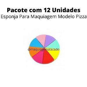 Esponja Para Maquiagem Modelo Pizza  Atacado Box 12 Unidades