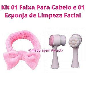 Kit 01 Faixa Para Cabelo e 01 Esponja de Limpeza Facial