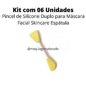 Kit 06 Unidades Pincel de Silicone Duplo para Máscara Facial Skincare Espátula