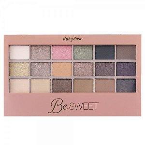 Paleta de Sombras com Primer  Ruby Rose 18 Cores Be Sweet HB9923