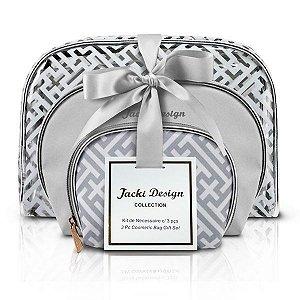 Kit de Necessaire c/ 3 peças - Diamantes Jacki Design ABC17380 Prata