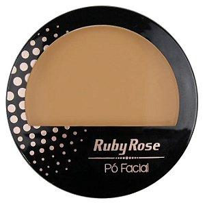 Pó Facial com Espelho Ruby Rose  HB7212 Cor 16
