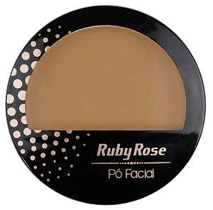 Pó Facial com Espelho Ruby Rose  HB7212 Cor 17