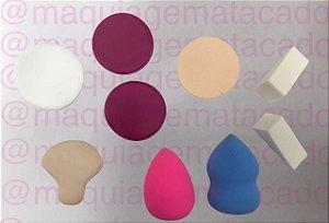 Kit 11 Esponjas Diversas para Maquiagem Pretty Sister