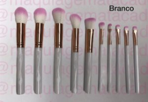 Kit Tubo 10 Pincéis para Maquiagem Meiyani Branco