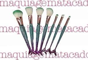 Kit 7 Pincéis para Maquiagem Sereia Meiyani Verde