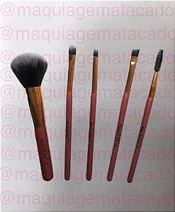 Kit 5 Pincéis para Maquiagem Meiustar Deluxe Cosmetic Rose