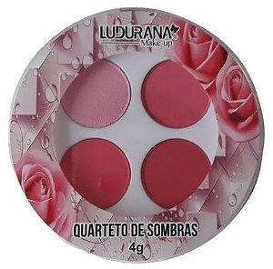 Quarteto de Sombras Redonda Ludurana Cor 01 Rosa Chiclete