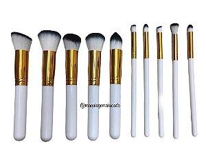 Kit 10 Pincéis para Maquiagem Branco