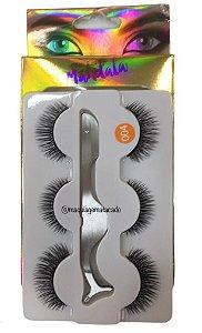 Cílios Postiços com 03 Pares e Pinça de Aplicação Mandala Modelo 004 DF2376