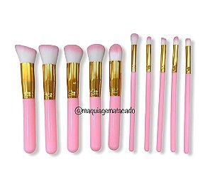 Kit 10 Pincéis para Maquiagem Rosa