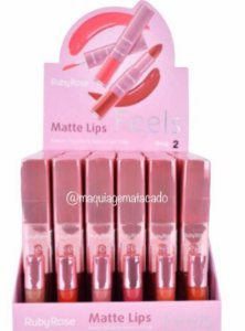 Batom Duo Matte Lips Feels Ruby Rose Grupo 2 Atacado Box 36 Unidades