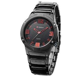 Relógio Masculino Curren Analógico 8111 Preto e Vermelho