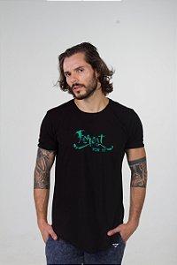 Camiseta Longline Curve Preta Forest