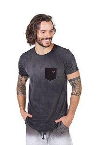 Camiseta Longline Curve Preta Stoned Bolso