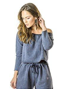 Blusa Cropped Azul Denim