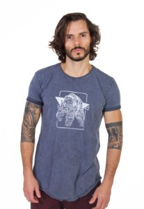 Camiseta Longline Curve Silk Bear Azul Denim