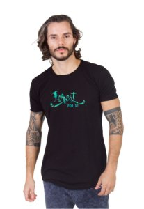 Camiseta Longline Curve Silk Forest Preta