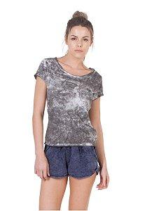 Camiseta Slim Cinza Marmorizado