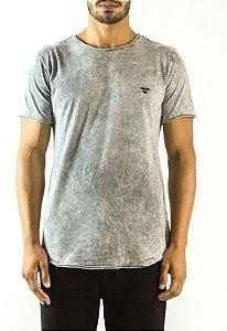 Camiseta Longline Curve Marmorizada Cinza