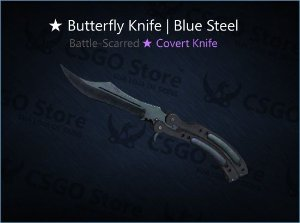 ★ Butterfly Knife | Blue Steel (Battle-Scarred)