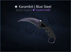 ★ Karambit | Blue Steel (Battle-Scarred)
