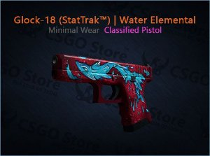 Glock-18 (StatTrak™) | Water Elemental (Minimal Wear)