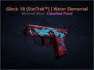 Glock-18 (StatTrak™) | Water Elemental (Minimal Wear)