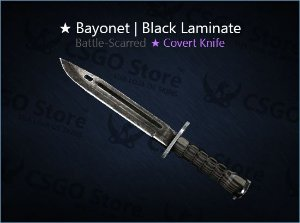★ Bayonet | Black Laminate (Battle-Scarred)