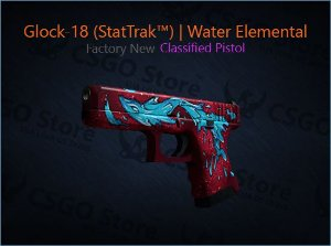 Glock-18 (StatTrak™) | Water Elemental (Factory New)