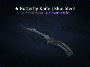 ★ Butterfly Knife | Blue Steel (Minimal Wear)