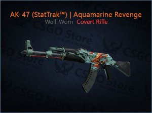 AK-47 (StatTrak™) | Aquamarine Revenge (Well-Worn)
