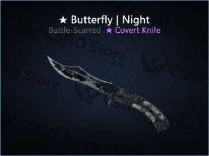 ★ Butterfly Knife | Night (Battle-Scarred)